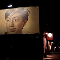 Photo effect - Billboard in the darkness