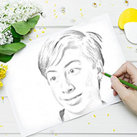 Photo effect - Drawing among flowers