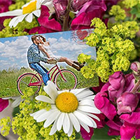 Photo effect - Greeting card with flowers