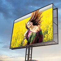 Photo effect - On the billboard against the evening sky