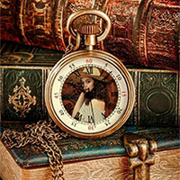 Photo effect - Vintage books with a vintage watch