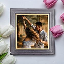 Photo effect - Photo frame and gentle tulips