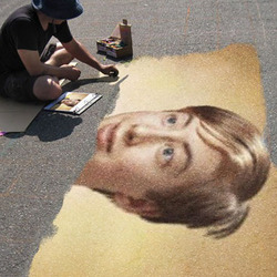 Photo effect - Street art on the road